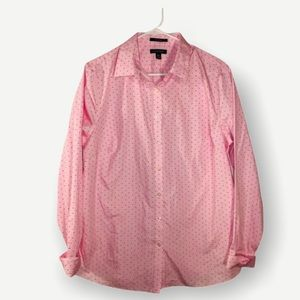 Pink Polka Dotted Lands End Button Down Shirt 16T